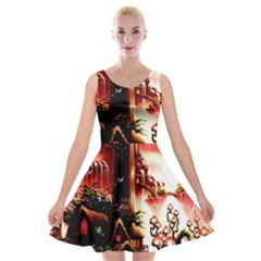 Fantasy Art Story Lodge Girl Rabbits Flowers Velvet Skater Dress