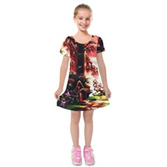 Fantasy Art Story Lodge Girl Rabbits Flowers Kids  Short Sleeve Velvet Dress