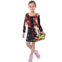 Fantasy Art Story Lodge Girl Rabbits Flowers Kids  Long Sleeve Velvet Dress