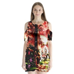 Fantasy Art Story Lodge Girl Rabbits Flowers Shoulder Cutout Velvet  One Piece