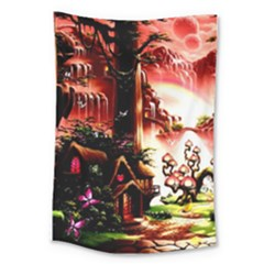 Fantasy Art Story Lodge Girl Rabbits Flowers Large Tapestry