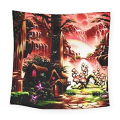 Fantasy Art Story Lodge Girl Rabbits Flowers Square Tapestry (Large)