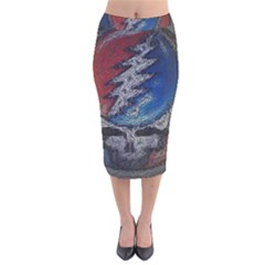 Grateful Dead Logo Velvet Midi Pencil Skirt