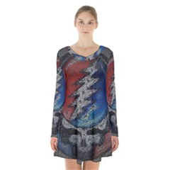 Grateful Dead Logo Long Sleeve Velvet V Neck Dress