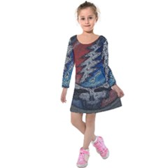 Grateful Dead Logo Kids  Long Sleeve Velvet Dress