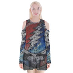 Grateful Dead Logo Velvet Long Sleeve Shoulder Cutout Dress