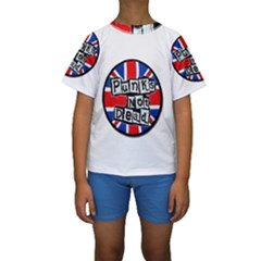 Punk Not Dead Music Rock Uk Flag Kids  Short Sleeve Swimwear