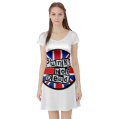 Punk Not Dead Music Rock Uk Flag Short Sleeve Skater Dress