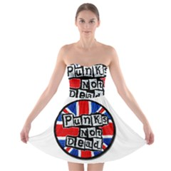 Punk Not Dead Music Rock Uk Flag Strapless Bra Top Dress