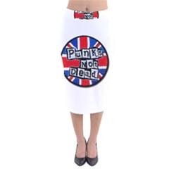 Punk Not Dead Music Rock Uk Flag Velvet Midi Pencil Skirt