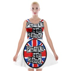 Punk Not Dead Music Rock Uk Flag Velvet Skater Dress