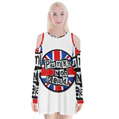 Punk Not Dead Music Rock Uk Flag Velvet Long Sleeve Shoulder Cutout Dress