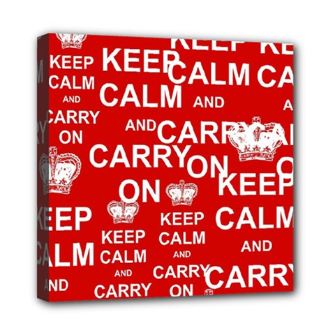 Keep Calm And Carry On Mini Canvas 8  X 8
