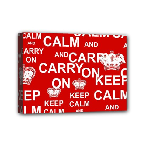 Keep Calm And Carry On Mini Canvas 7  X 5