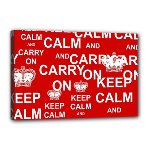 Keep Calm And Carry On Canvas 18  x 12
