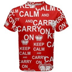 Keep Calm And Carry On Men s Cotton Tee