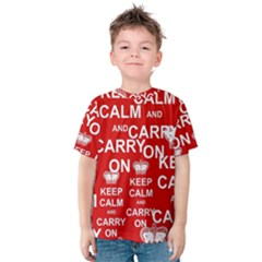Keep Calm And Carry On Kids  Cotton Tee