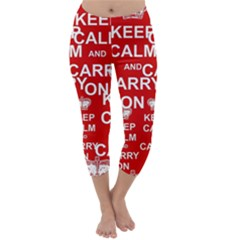 Keep Calm And Carry On Capri Winter Leggings