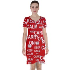 Keep Calm And Carry On Short Sleeve Nightdress