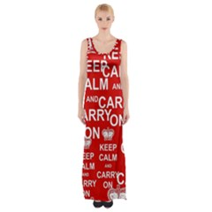 Keep Calm And Carry On Maxi Thigh Split Dress