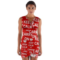 Keep Calm And Carry On Wrap Front Bodycon Dress