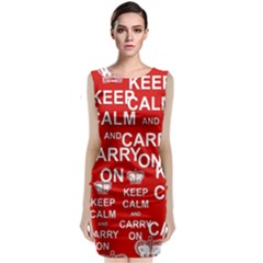 Keep Calm And Carry On Sleeveless Velvet Midi Dress