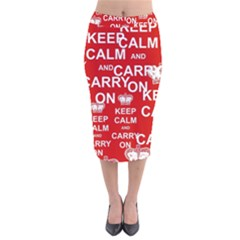 Keep Calm And Carry On Velvet Midi Pencil Skirt