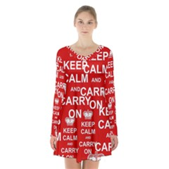 Keep Calm And Carry On Long Sleeve Velvet V Neck Dress
