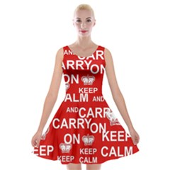 Keep Calm And Carry On Velvet Skater Dress