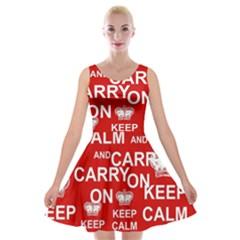 Keep Calm And Carry On Velvet Skater Dress