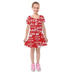 Keep Calm And Carry On Kids  Short Sleeve Velvet Dress