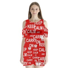 Keep Calm And Carry On Shoulder Cutout Velvet  One Piece