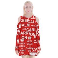 Keep Calm And Carry On Velvet Long Sleeve Shoulder Cutout Dress