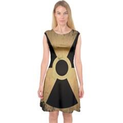 Radioactive Warning Signs Hazard Capsleeve Midi Dress