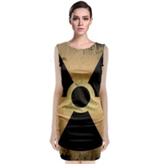 Radioactive Warning Signs Hazard Sleeveless Velvet Midi Dress