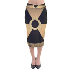 Radioactive Warning Signs Hazard Velvet Midi Pencil Skirt