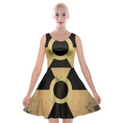 Radioactive Warning Signs Hazard Velvet Skater Dress