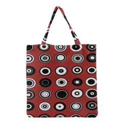 Circles Red Black White Grocery Tote Bag
