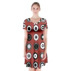 Circles Red Black White Short Sleeve V-neck Flare Dress