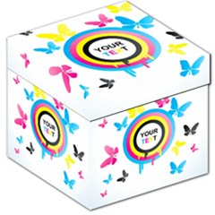 Colorful Butterfly Rainbow Circle Animals Fly Pink Yellow Black Blue Text Storage Stool 12