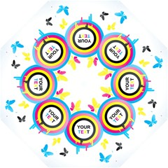 Colorful Butterfly Rainbow Circle Animals Fly Pink Yellow Black Blue Text Hook Handle Umbrellas (Large)