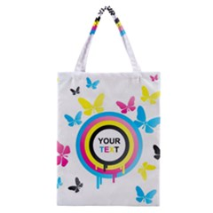 Colorful Butterfly Rainbow Circle Animals Fly Pink Yellow Black Blue Text Classic Tote Bag