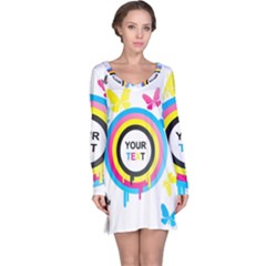 Colorful Butterfly Rainbow Circle Animals Fly Pink Yellow Black Blue Text Long Sleeve Nightdress