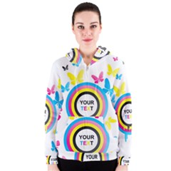 Colorful Butterfly Rainbow Circle Animals Fly Pink Yellow Black Blue Text Women s Zipper Hoodie