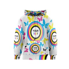 Colorful Butterfly Rainbow Circle Animals Fly Pink Yellow Black Blue Text Kids  Zipper Hoodie