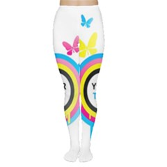 Colorful Butterfly Rainbow Circle Animals Fly Pink Yellow Black Blue Text Women s Tights