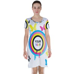 Colorful Butterfly Rainbow Circle Animals Fly Pink Yellow Black Blue Text Short Sleeve Nightdress