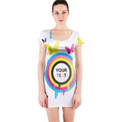 Colorful Butterfly Rainbow Circle Animals Fly Pink Yellow Black Blue Text Short Sleeve Bodycon Dress