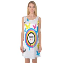 Colorful Butterfly Rainbow Circle Animals Fly Pink Yellow Black Blue Text Sleeveless Satin Nightdress