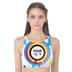 Colorful Butterfly Rainbow Circle Animals Fly Pink Yellow Black Blue Text Tank Bikini Top